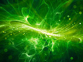 Green glowing high energy plasma field in space with particles, computer generated abstract background