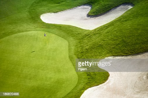 Green golf course aerial view