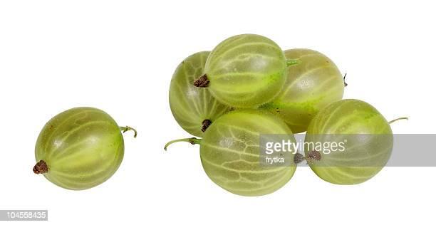 green gooseberry on white background