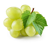 Green grape with leaf isolated on white. With clipping path. Full depth of field.