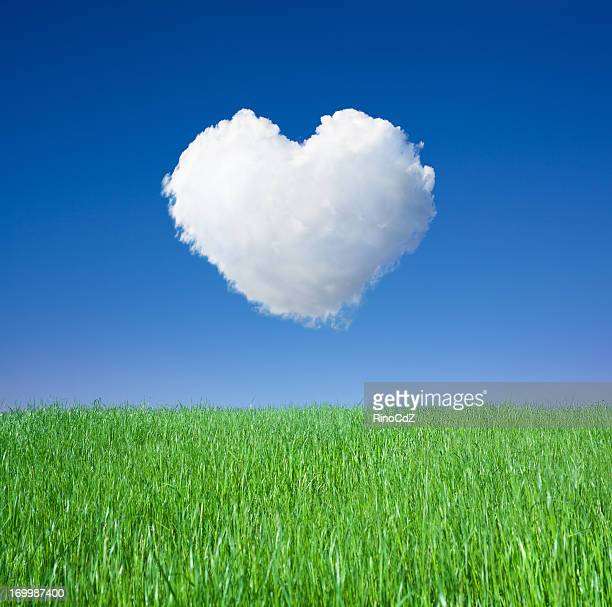 Green Grass And Cloud Heart, Square