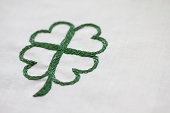 Green hand stitched four leaf clover for luck