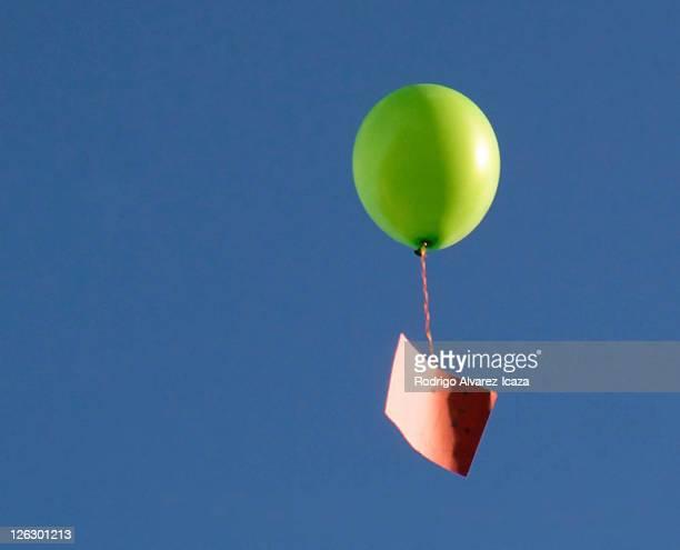 Green helium balloon