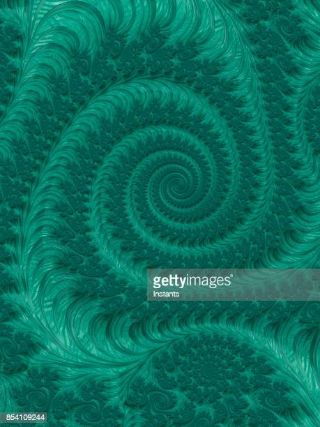Green high resolution textured fractal background that reminds of a spiral.