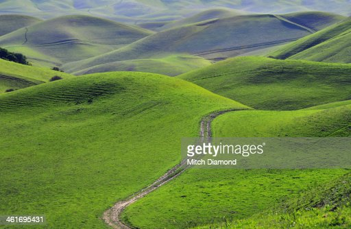 green hills with road