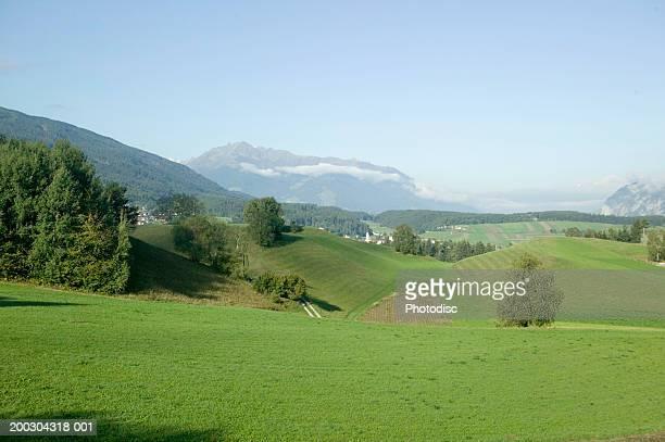 Green hillside in mountains
