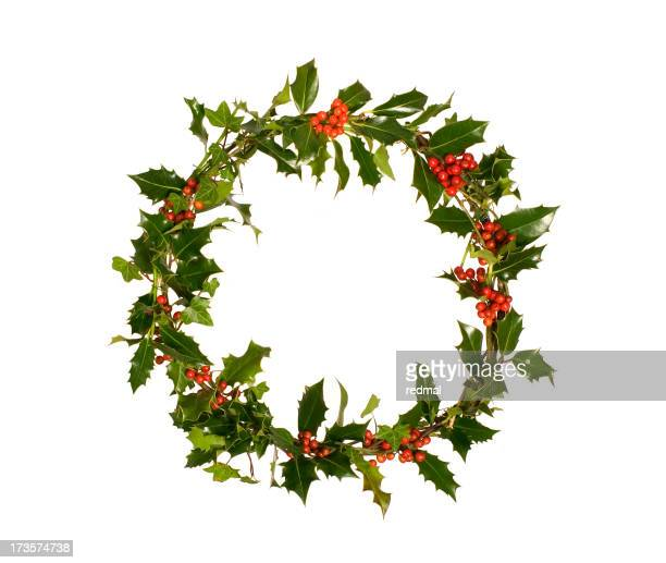 Green holly wreath with red berries