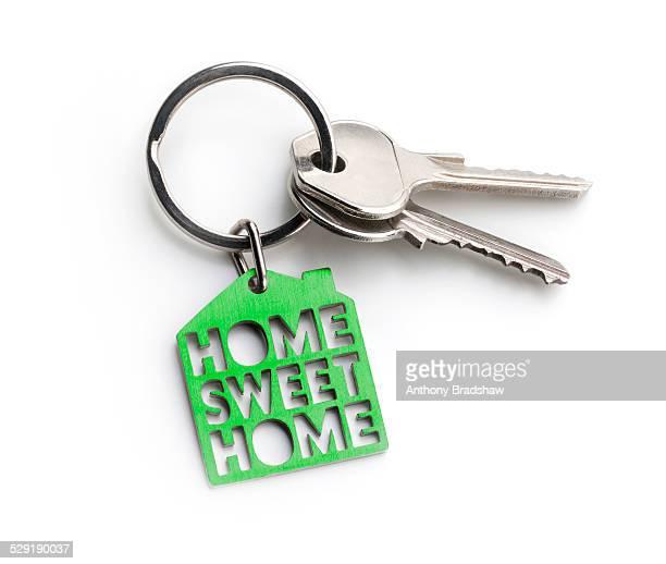 Green 'Home sweet home' key fob