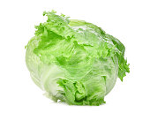green iceberg lettuce isolated on white background