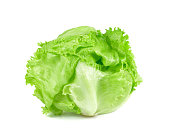 green Iceberg lettuce on white background, Fresh cabbage isolated, baby cos