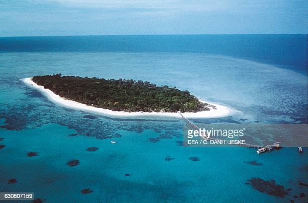 Green island atoll on the Great Barrier Reef Australia