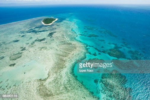 Green Island on Great Barrier Reef from the sky