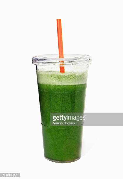 Green juice on white background