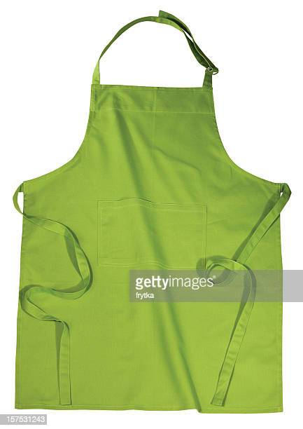 Green kitchen apron isolated on white background
