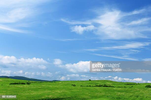 Green Landscape Against Cloudy Sky