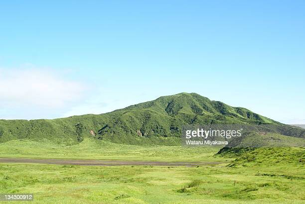 Green landscape with mountain in Aso