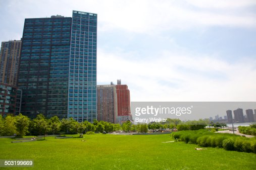 Green lawn in Queens riverside park