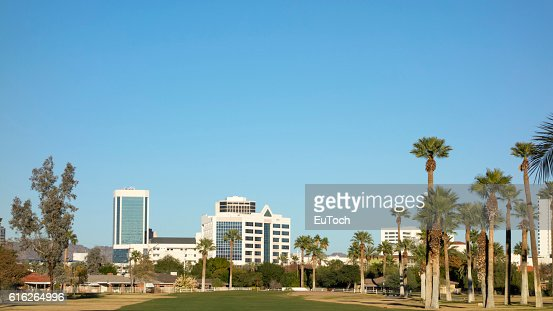 Green Lawns in Phoenix Downtown, AZ : Stock Photo