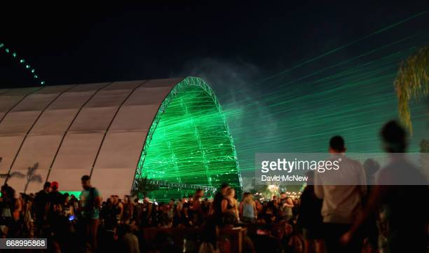 Green lazer lights shoot out from the Sahara Tent during day 2 of the Coachella Valley Music And Arts Festival at the Empire Polo Club on April 15...