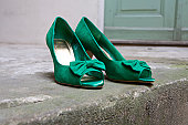 Green Leather High Heels Pumps