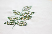 Green leaves hand stitched as a symbol of nature