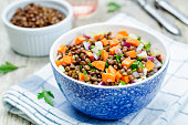 green lentils carrots celery salad. toning. selective focus