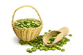 Green lentils in the basket isolated on white