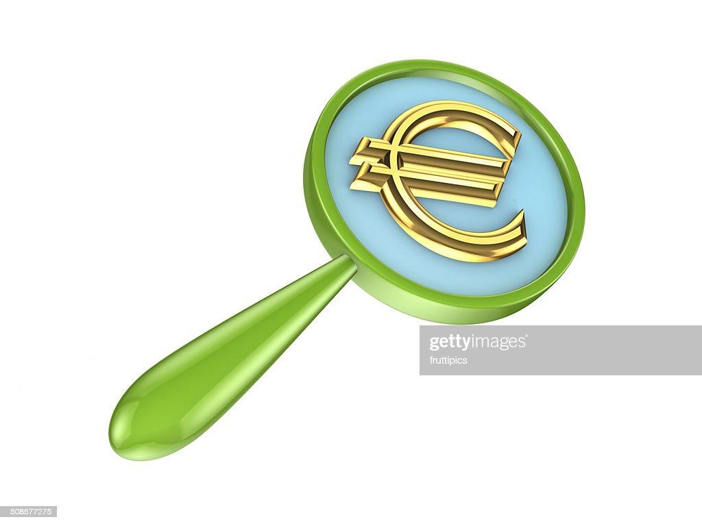 Green Zylinderlupe und golden euro-Zeichen. : Stock-Foto