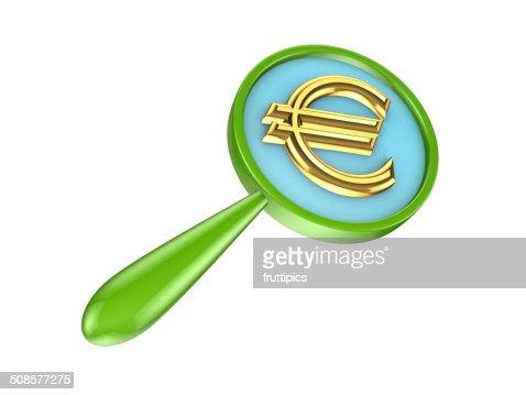 ルーペ、グリーンゴールドユーロの標識に進みます。 : ストックフォト