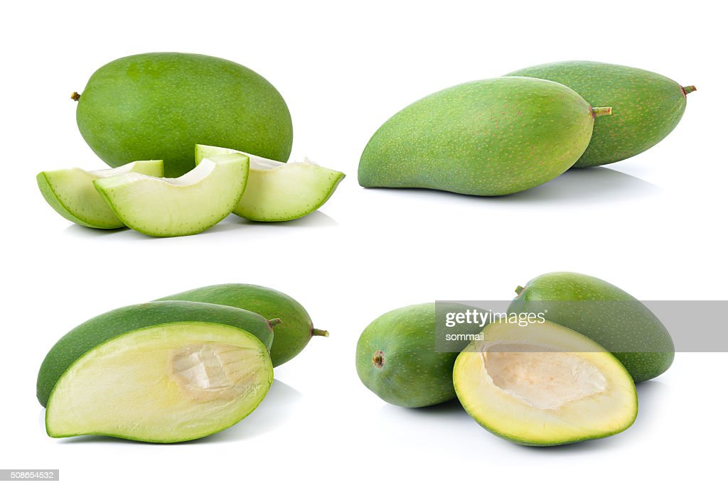 green mango on white background : Stock Photo