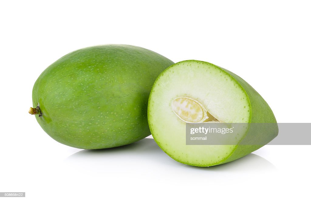 green mango on white background : Stock Photo