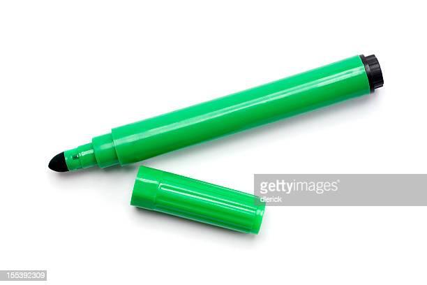 Verde bolígrafo marcador Aislado en blanco