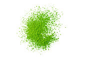 heap of green matcha tea powder isolated on white background, view from above, flat lay, backgrounds