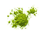green matcha tea powder isolated on white background