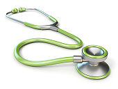Green medical stethoscope 3D render illustration isolated on white background