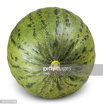 Green melon isolated on white background : Stock Photo