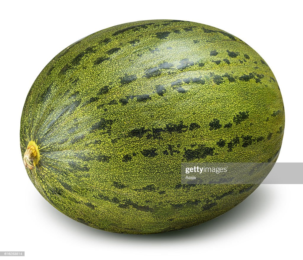 Green melon isolated on white background : Foto de stock