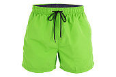 Green men shorts for swimming isolated on white background