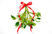 Green mistletoe with ribbon isolated on white background. Christmas concept.
