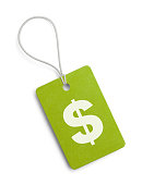 Small Hang Tag with Cash Symbol Isolated on White Background.