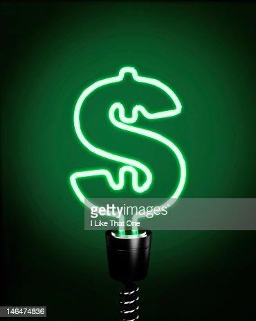 Green Neon tube lightbulb forming Dollar symbol : Bildbanksbilder