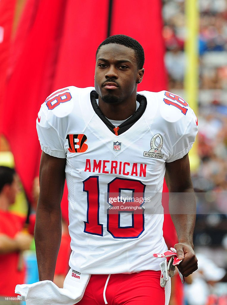 A. J. Green #18 of the Cincinnati Bengals and the AFC is introduced before the 2013 Pro Bowl against the National Football Conference team at Aloha Stadium on January 27, 2013 in Honolulu, Hawaii