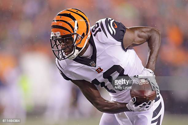 J Green of the Cincinnati Bengals carries the ball during the first quarter of the game against the Miami Dolphins at Paul Brown Stadium on September...