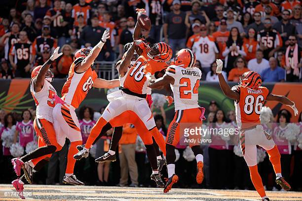 J Green of the Cincinnati Bengals catches a hail marry pass for a touchdown at the end of the second quarter of the game against the Cleveland Browns...