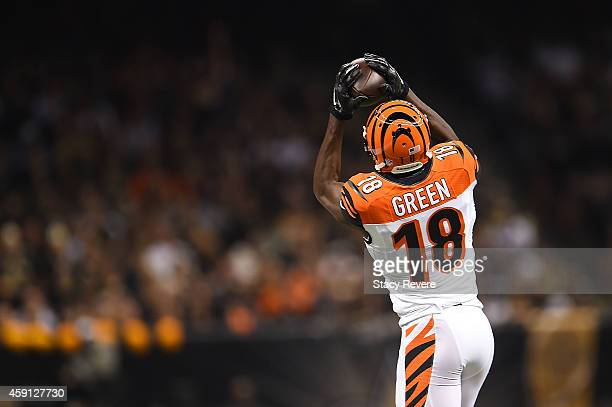 J Green of the Cincinnati Bengals catches a pass during a game against the New Orleans Saints at the MercedesBenz Superdome on November 16 2014 in...