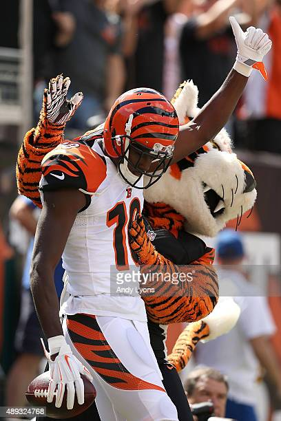 J Green of the Cincinnati Bengals celebrates after scoring a touchdown during the first quarter of the game against the San Diego Chargers at Paul...