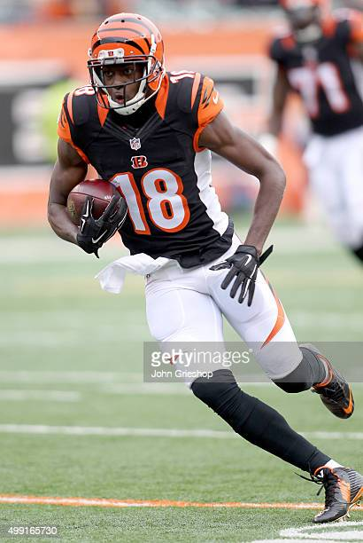 J Green of the Cincinnati Bengals heads up the field during the first quarter against the St Louis Rams at Paul Brown Stadium on November 29 2015 in...