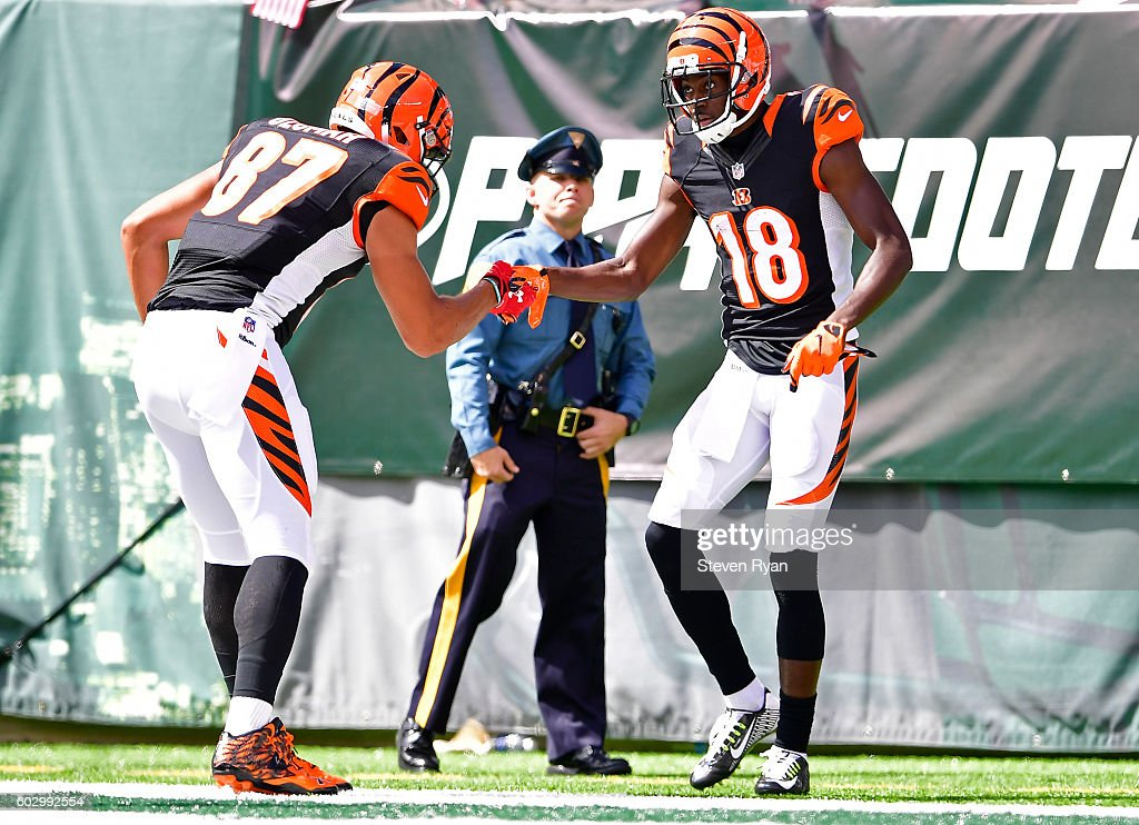 A.J. Green #18 of the Cincinnati Bengals is congratulated by his teammate C.J. Uzomah #87 after scoring a second quarter touchdown against the Cincinnati Bengals at MetLife Stadium on September 11, 2016 in East Rutherford, New Jersey. The Cincinnati Bengals defeated the New York Jets 23-22.