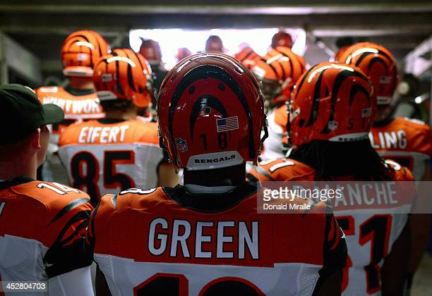 J Green of the Cincinnati Bengals prepares to head onto the field before their game against the San Diego Chargers on December 1 2013 at Qualcomm...