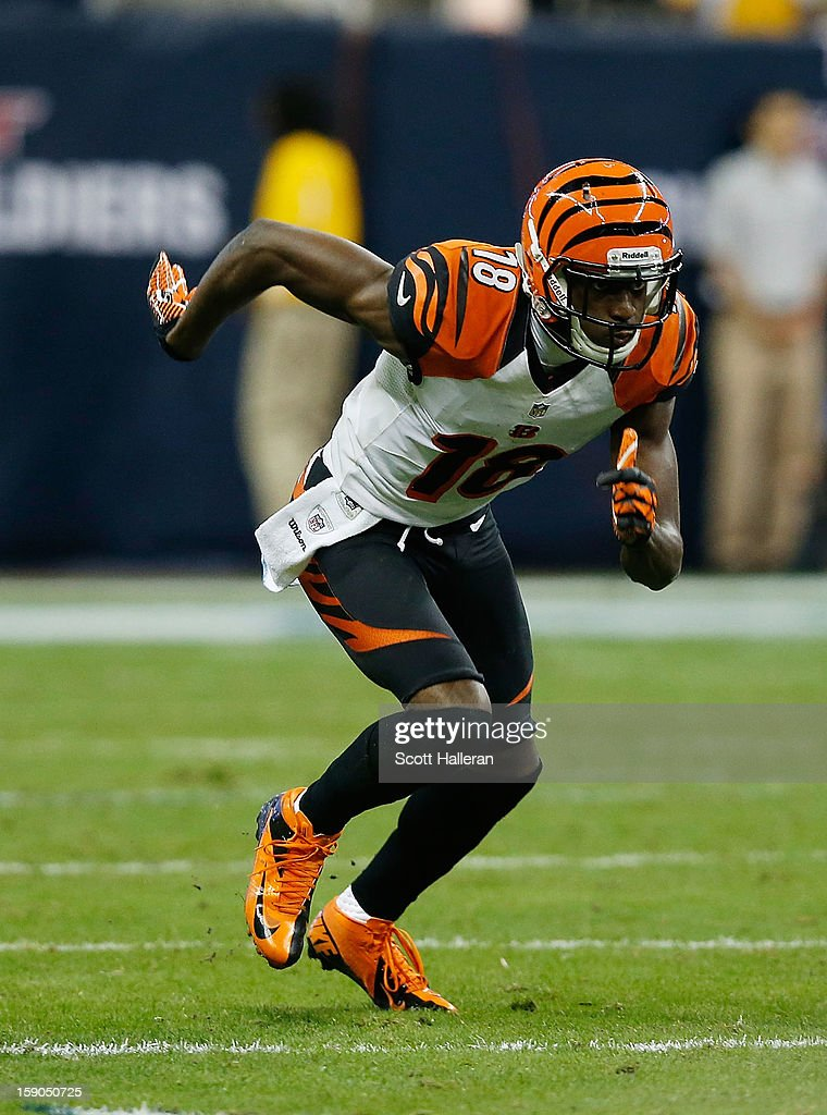 A.J. Green #18 of the Cincinnati Bengals runs a play during the game against the Houston Texans at Reliant Stadium on January 5, 2013 in Houston, Texas.